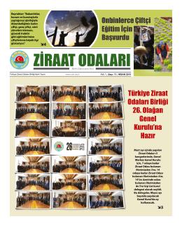Nisan 2015 Gazete - Türkiye Ziraat Odaları Birliği