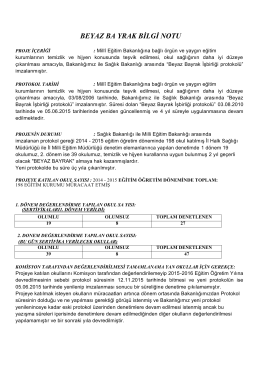 BEYAZ BA YRAK BİLGİ NOTU - İzmir İl Milli Eğitim Müdürlüğü