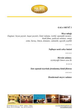 GALA MENÜ 1 Meze tabağı Enginar, beyaz peynir, kaşar peyniri