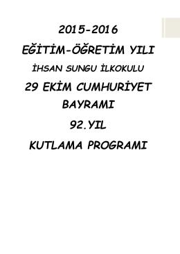 Sunum Programı - İSTANBUL KADIKÖY Ihsan Sungu İlkokulu