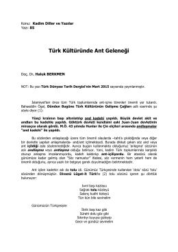 86- Türk Kültüründe Ant Geleneği