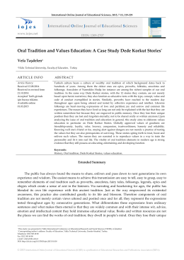 Oral Tradition and Values Education: A Case Study Dede Korkut