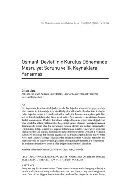 osmanlı devleti`nin kuruluşdöneminde meşruiyet