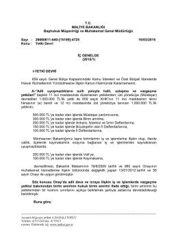 İç Genelge (2015/1) - Başhukuk Müşavirliği ve Muhakemat Genel
