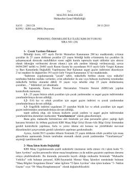 T.C. MALİYE BAKANLIĞI Muhasebat Genel Müdürlüğü SAYI : 2015