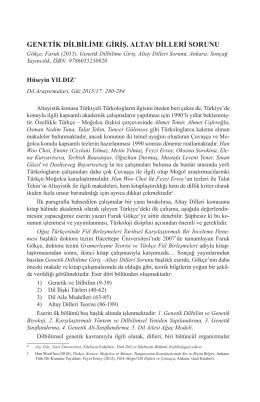 Genetik Dilbilime Giriş. Altay Dilleri Sorunu, Ankara