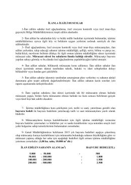 İlanla İlgili Hususlar 2015 - Isparta Orman Bölge Müdürlüğü