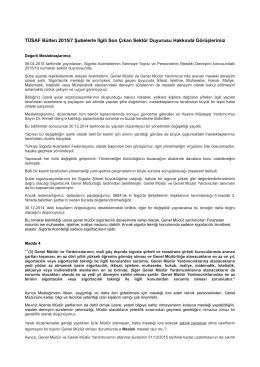TÜSAF Bülten 2015/7 Şubelerle İlgili Son Çıkan Sektör