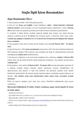 Stajla İlgili İşlem Basamakları - Mevlana Üniversitesi Adalet Meslek