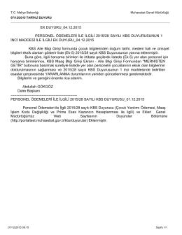 ek duyuru_04.12.2015 personel ödemeleri ile ilgili 2015/28 sayılı