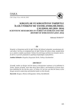 kırgızlar ve kırgızistan tarihi ile ilgili türkiye`de yayımlanmış
