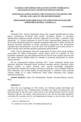 tanzimat döneminde osmanlı devletinin nehirler ve göller ile ilgili