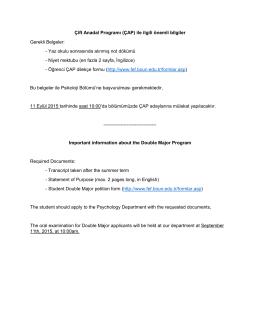 Çift Anadal Programı (ÇAP) ile ilgili önemli bilgiler Gerekli Belgeler