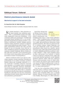Elektrot çıkarılmasına mekanik destek Editöryal Yorum / Editorial