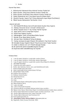 3. Sınıflar Kaynak Kitap listesi: 1. BilfenYayınları Matematik Konu