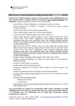 Bilgi Notu No. 42: Alman vatandaşı olan çocuğun yanına göç etmek