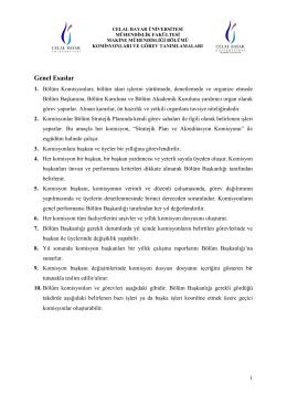 Komisyon Görevleri - Makine Mühendisliği