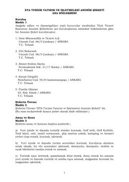 eta a.ş. ana sözleşme