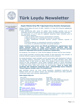 Turk Loydu Newsletter 2015-07
