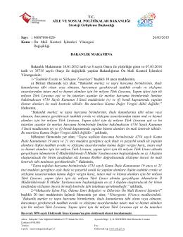 Ön Mali Kontrol İşlemleri Yönergesi Değişiklik Oluru (26 Mart 2015)
