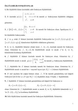 MAT305 Reel Analiz I - PROBLEMLER 3 (Ölçülebilir Fonksiyonlar)