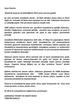 12. mayıs 2015 bilgilendirme - Çanakkale Ticaret ve Sanayi Odası
