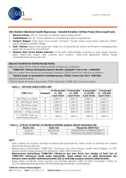 GS1 Sistemi (Barkod) Üyelik Başvurusu