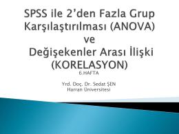 SPSS ile 2`den Fazla Grup Karşılaştırılması (ANOVA) ve