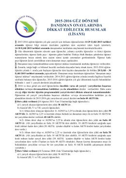 lisans - Düzce Üniversitesi Öğrenci İşleri Daire Başkanlığı