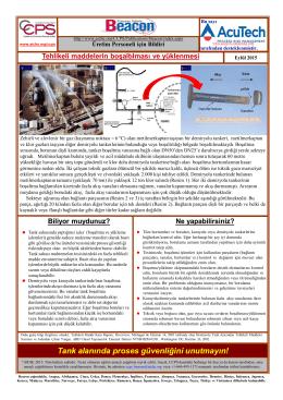 Tank alanında proses güvenliğini unutmayın!