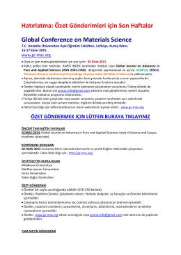 Özet Gönderimleri için Son Haftalar Global Conference on Materials