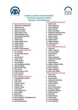 Ankara Mülakat Listesi