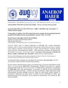 Anaerop Haber Ekim 2015 sayısının konu başlığı : Yurt içi / yurt dışı