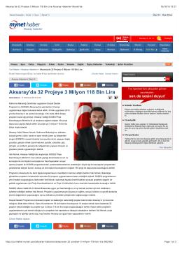 Aksaray Valiliği 2013 yılı SODES Projeleri ile ilgili habere ulaşmak