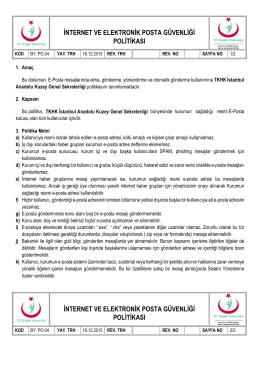 internet ve elektronik posta güvenliği politikası internet ve elektronik