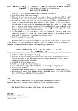 EK-2 09-21 KASIM 2015 TARİHLERİ ARASINDA İSTANBUL İLİNDE