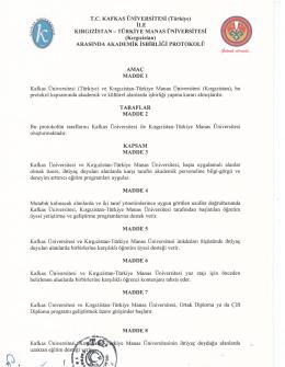 Akademik İşbirliği Protokolü - Kırgızistan Türkiye Manas Üniversitesi