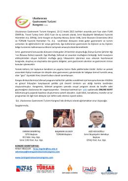 Davet Mektubu - Uluslararası Gastronomi Turizmi Kongresi