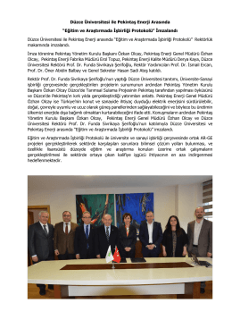 Düzce Üniversitesi ile Pekintaş Enerji Arasında