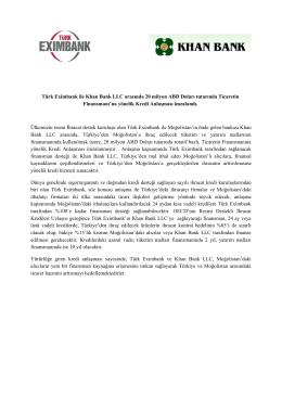Türk Eximbank ile Khan Bank LLC arasında 20 milyon ABD Doları