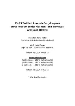 15- 23 Tarihleri Arasında Gerçekleşecek Bursa Podyum Senior