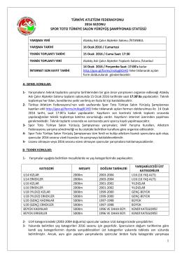 1 türkiye atletizm federasyonu 2016 sezonu spor toto türkiye salon