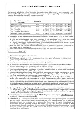Balıkesir Üniversitesi Özel Yetenek Sınav Klavuzu - Sprint