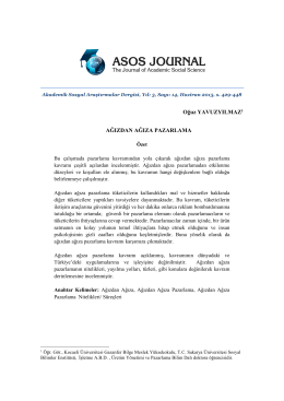 Ağızdan ağıza pazarlama - The Journal of Academic Social Science