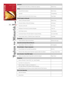 Güney Mimarlık Sayı 1-20 indeks