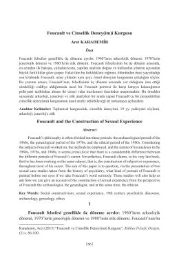 Foucault ve Cinsellik Deney(im)i Kurgusu