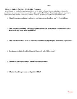 Ebeveyn Anketi: İngilizce Dil Gelişim Programı