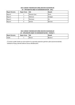 Uzman Yardımcılığı IV (Diplomatik Arşiv ve Dokümantasyon)