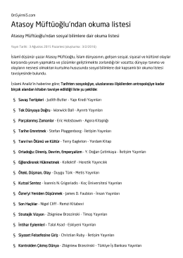 Atasoy Müftüoğlu`ndan okuma listesi