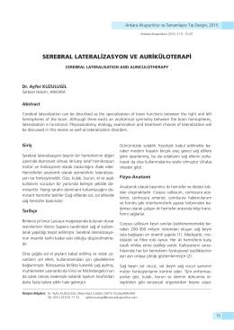serebral lateralizasyon ve auriküloterapi